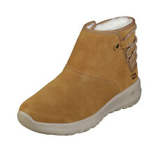 Skechers NEW On The Go Joy Aglow chestnut suede flat ankle fur boots sizes 3-8