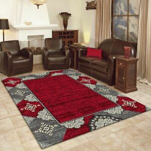 Budget BCF Rug Collection Red Traditional Designs Soft Feel In All Sizes