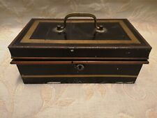More details for large vintage cash money box with lock - 1940's