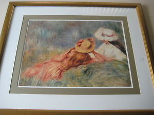 """PIERRE-AUGUSTE RENOIR YOUNG GIRLS BY THE WATER PRINT W/WOOD FRAME, 25"""" X 18"""""""