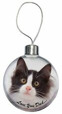 Black, White Cat 'Love You Dad' Christmas Tree Bauble Decoration Gift, DAD-161CB