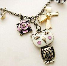 Collar lechuza bucle lechuzas cadena Uhu mochuelo cadena Owl Necklace Rose pedrería bala