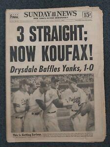 1963 World Series - Dodgers vs Yankees - Baseball -New York Daily News Newspaper