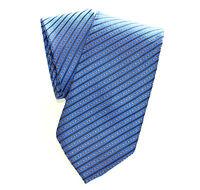 CRAVATTA SETA a RIGHE BLU uomo handmade elegante cerimonia Tie Cravate Lazo 15