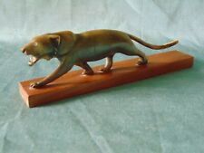Stunning Antique Antler Carving Mountain Cat Puma Amazing Detail & Definition