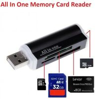 Lector de tarjetas SD USB version 2.0 de alta velocidad aluminio negro.