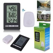 2in1 LCD Digital Indoor/ Outdoor Thermometer Wireless Temperature Meter w/ Clock