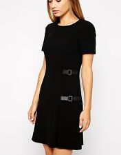 KAREN MILLEN SIGNATURE (SOLD OUT) BLACK JERSEY BUCKLE KILTED DRESS SIZE 10.
