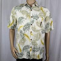 Caribbean Pineapple Small Hawaiian Shirt Cream Green Leaves Yellow Flowers Aloha
