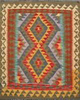 Geometric Kilim Oriental Southwestern Hand-Woven Area Rug Traditional Carpet 3x4