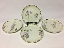 Haviland France Dessert Plates w/Delicate Purple Flowers and Gold Trim Set of 4