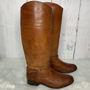 Frye Women's Melissa Seam Tall Riding Pull On Boots Caramel Brown Size 8.5