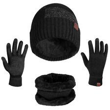 Winter 3 Piece Set Knit Beanie Hat Scarf Touchscreen Gloves Men Women Warm Suit
