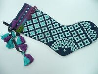 Free People Anthropologie Christmas Stocking Blue Purple FP Mirror Sequin