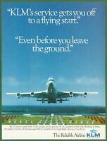 KLM Royal Dutch Airlines Boeing 747 - 1987 Vintage Print Ad