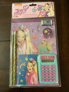 Jojo Siwa 7pc Calculator Set Notepad Eraser Sharpener Calculator Memo Pencils
