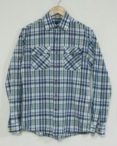 The North Face Mens Shirt Collared Plaid Long Sleeve White Blue Size 100 - M / L