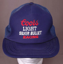 Coors Light Silver Bullet Racing Trucker Hat-Embroid-Blue-Mesh-VTG-Hipster-Auto