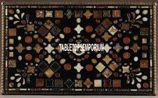 4'x3' Black Marble Dining Table Marquetry Mosaic Stone Inlay Semi Precious Arts