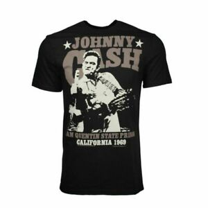 Johnny Cash San Quentin Stars Black T-Shirt Men's Officially Licensed Band Tee
