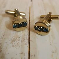 Vintage mens gold tone cufflinks with blue faux gem accents