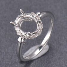 7x9MM Oval Cut Solid 14K White Gold Natural Diamond Ring Setting Semi Mount