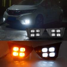 For Honda FIT JAZZ 2014-2017 White LED Daytime Running Light+Yellow Turn Signal