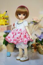 White & Pink Flower Vine Shirt/Clothes/Dress/Suit/Outfit 1/4 MSD DOD BJD Dollfie