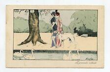 illustrateur Xavier SAGER .La promenade matinale. Charme, mode .Chien, lévrier .