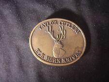 "Taylor Cutlery Elk Horn Knives Limited Edition Belt Buckle 3"" x 2 1/2"""
