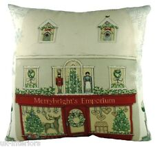 Filled Evans Lichfield Christmas Snow Toy Shop Scene Red Made in UK Cushion 43cm