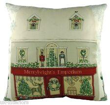 "17"" Christmas Shop Village Sally Swannell Cushion Evans Lichfield DPA289 43cm"