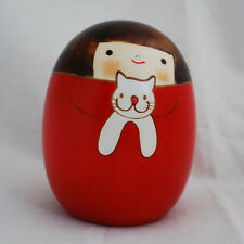 Japanese Kokeshi Doll - Authentic - Handmade in Japan - Sari the Cat