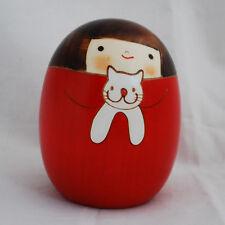 Japanese Kokeshi Doll - Authentic - Handmade in Japan - Sari the Cat