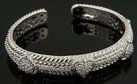 Judith Ripka Sterling Silver and CZ Hinged Bangle Bracelet