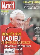PARIS MATCH MAGAZINE Pope Benedict Hillary Clinton Tunisia Belle et Sebastien