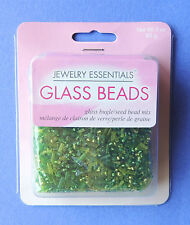 Jewelry Essentials 3oz (85g) Green Glass Beads Bugles & Seed Bead Mix Needlework