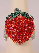 Strawberry Stretch Cocktail Fun Ring with Green Red Crystals