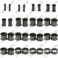 "V003 Black Double Flare Saddle Flesh Tunnels Earlets Plugs Gauges 10G to 2"" PAIR"