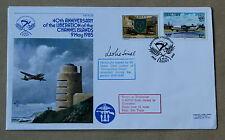 Islas del Canal 40TH aniversario de Liberartion 1985 Cubierta firmado Leslie SINEL