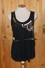 KOOKAI noir argent BROWN PEWTER Bead Leather Sequin Caraco Débardeur T-Shirt 10-12