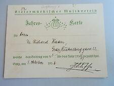 Jahreskarte GRAZ 1936 - Steiermärkischer MUSIKVEREIN - für RICHARD KAAN