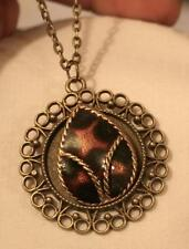 Lovely Round Picot Rim Amber & Black Teardrop Inset Brasstone Pendant Necklace