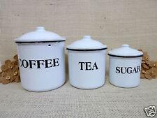 Vintage White Enamel Canister Set French Country Farm Kitchen Sugar Coffee Tea 3
