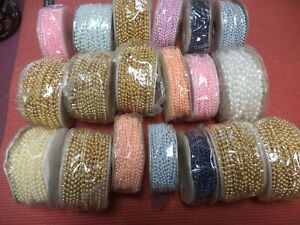 Faux Strings Pearls Plastic Colors Gold Pink Blue Plus Lot of 19 Rolls