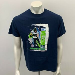Luke Wilson Super Bowl XLVIII Champion T shirt Men's Large Blue Cotton