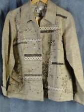 Coldwater Creek M NEW Tan Embroidered Open Front Jacket NWT
