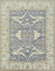 Oushak 9'x12' Blue Wool Hand-Knotted Oriental Rug