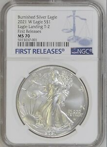 2021 W BURNISHED SILVER EAGLE TYPE 2 T2 NGC MS70 FIRST RELEASES - IN HAND!!