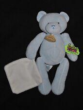Peluche Ours Beige Bleu Mouchoir Blanc DOUDOU ET COMPAGNIE Bear Teddy 25 Cm Neuf
